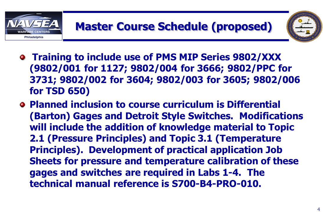 Master Course Schedule (proposed)