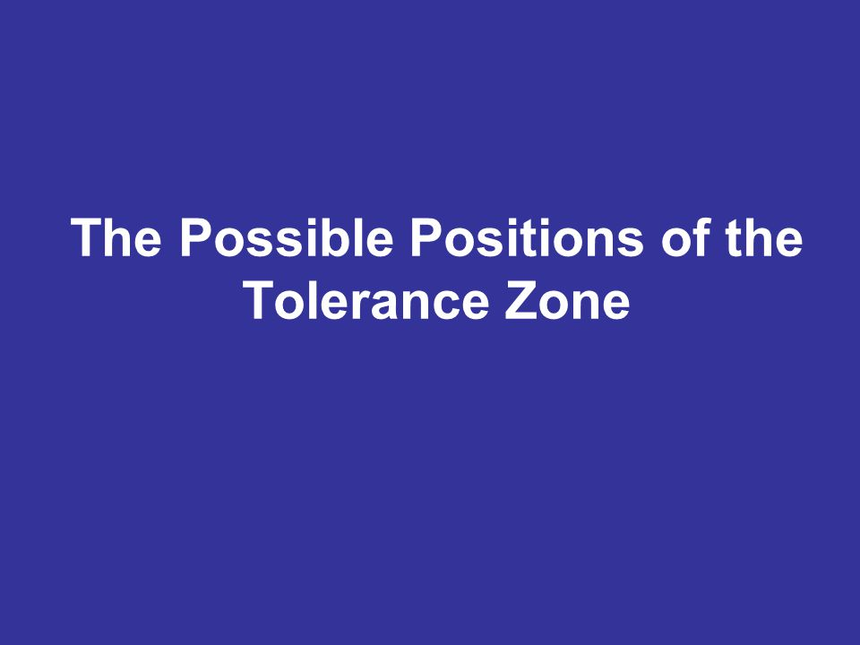 The Possible Positions of the Tolerance Zone