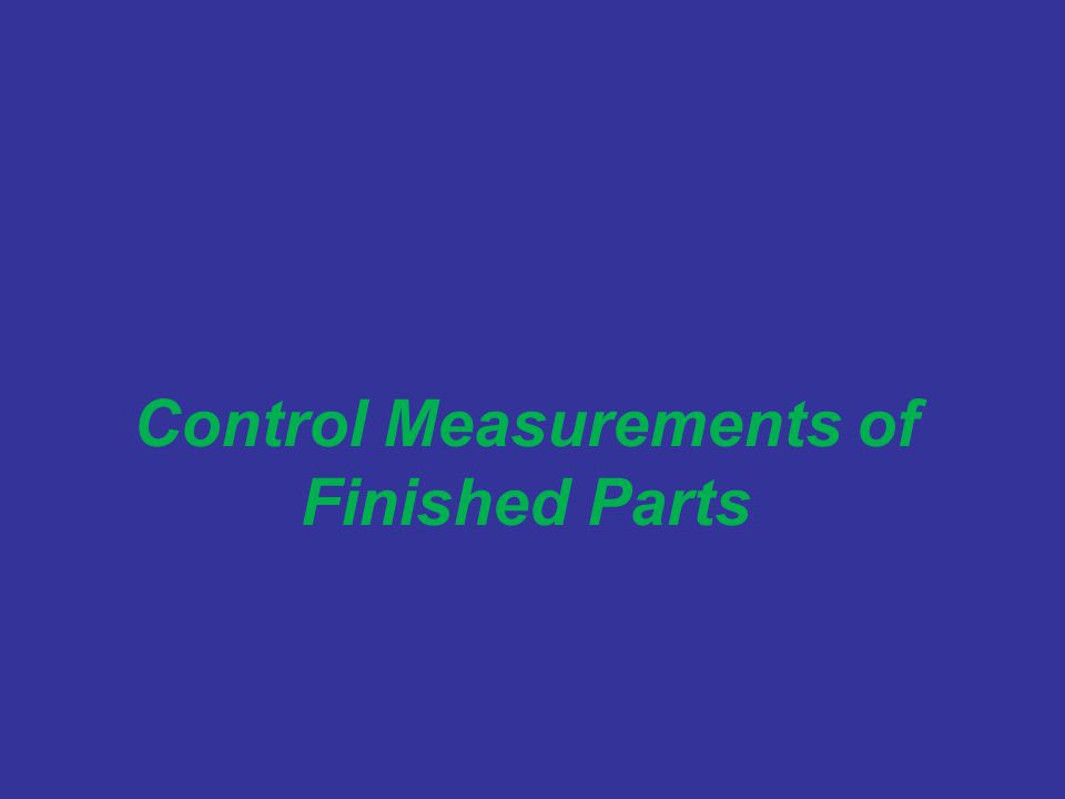 Control Measurements of