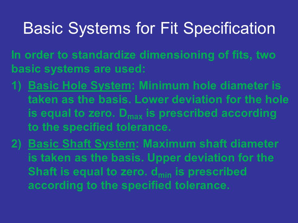 Basic Systems for Fit Specification