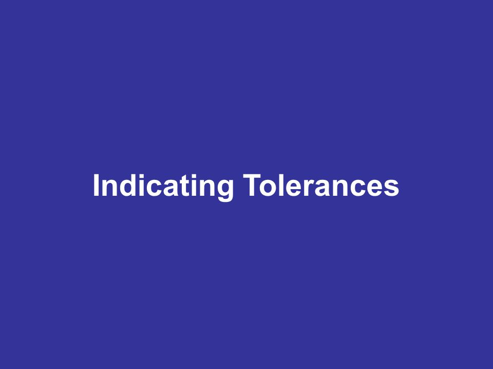 Indicating Tolerances