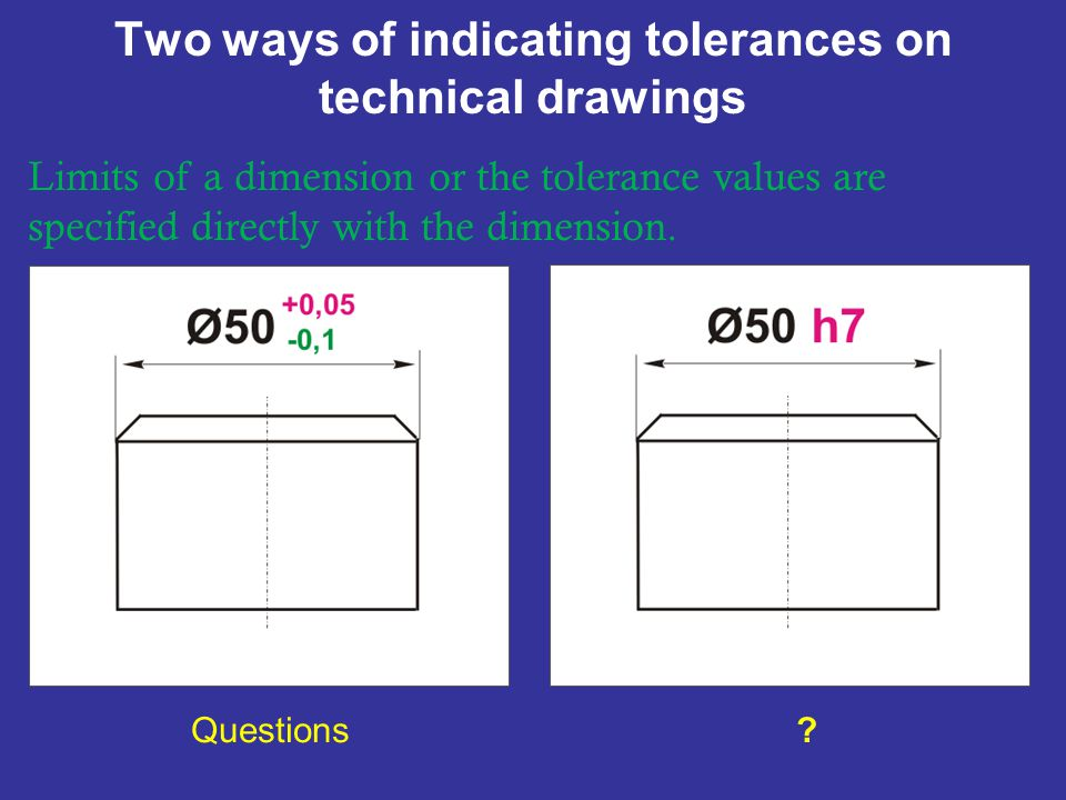 Two ways of indicating tolerances on technical drawings