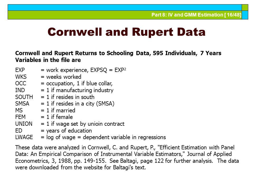 Cornwell and Rupert Data