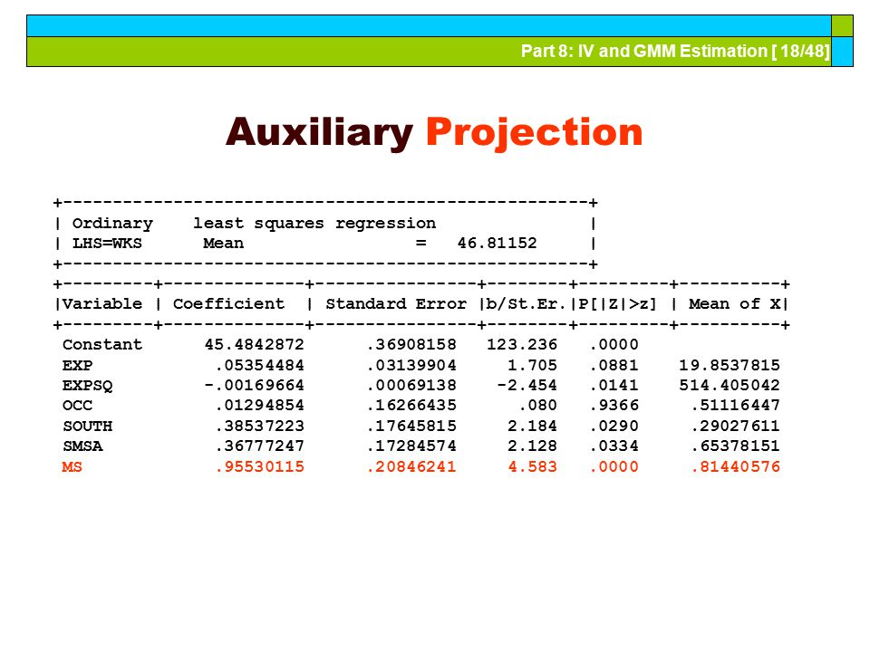 Auxiliary Projection +----------------------------------------------------+ | Ordinary least squares regression |