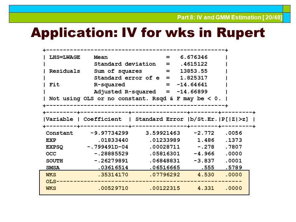 Application: IV for wks in Rupert