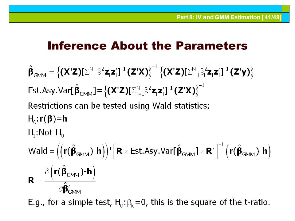 Inference About the Parameters