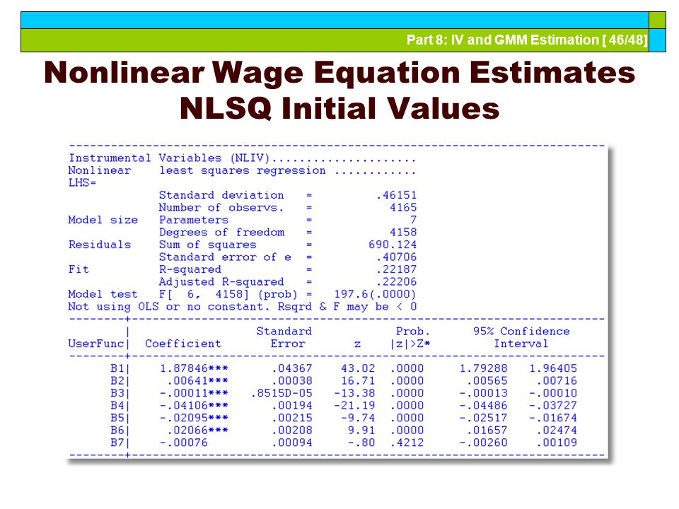 Nonlinear Wage Equation Estimates NLSQ Initial Values