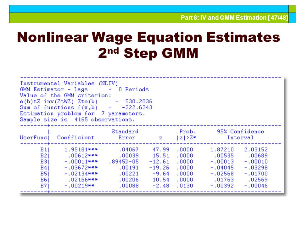 Nonlinear Wage Equation Estimates 2nd Step GMM
