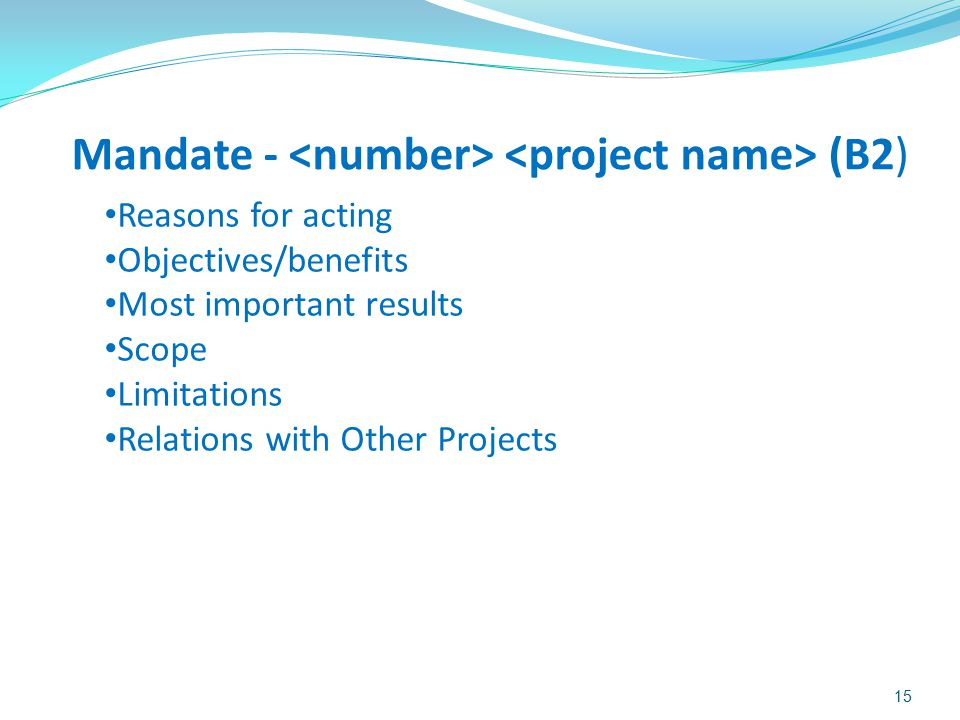 Mandate - <number> <project name> (B2)