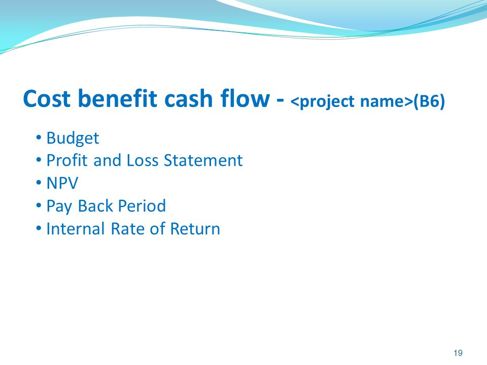 Cost benefit cash flow - <project name>(B6)