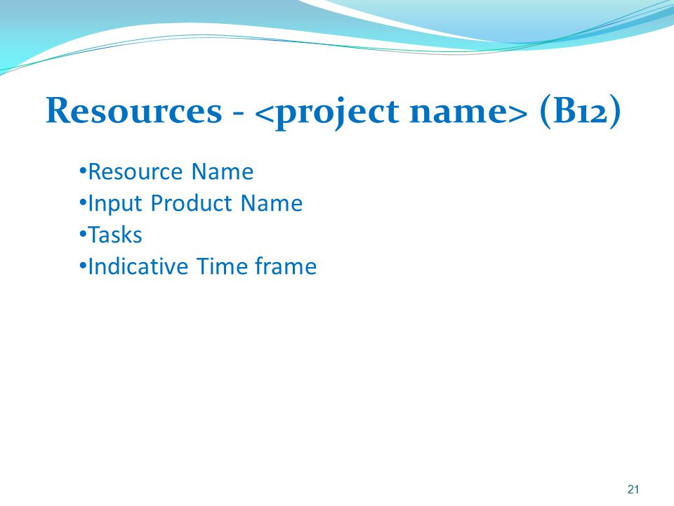 Resources - <project name> (B12)
