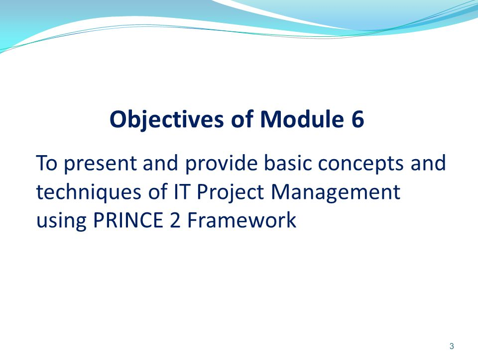 To present and provide basic concepts and techniques of IT Project Management using PRINCE 2 Framework