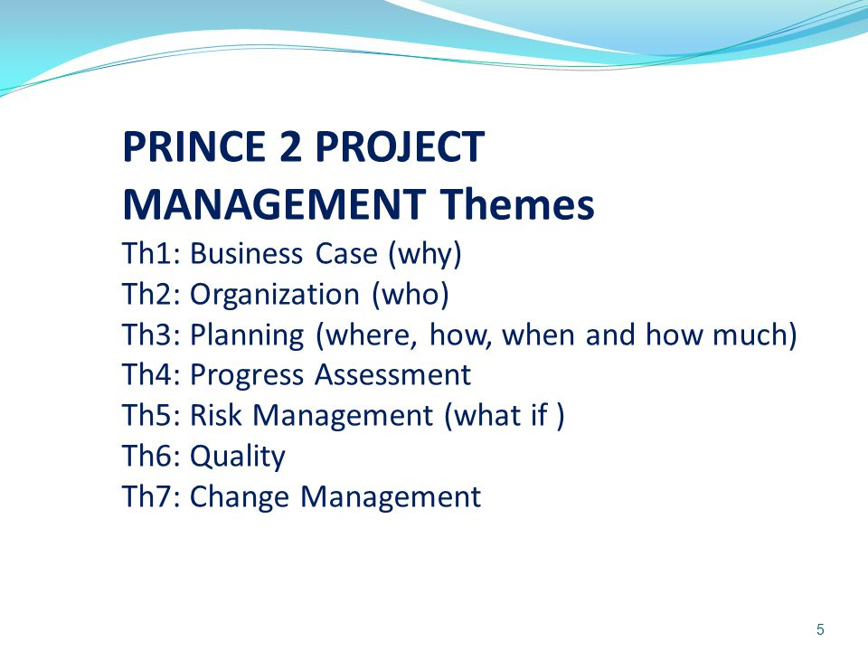 PRINCE 2 PROJECT MANAGEMENT Themes