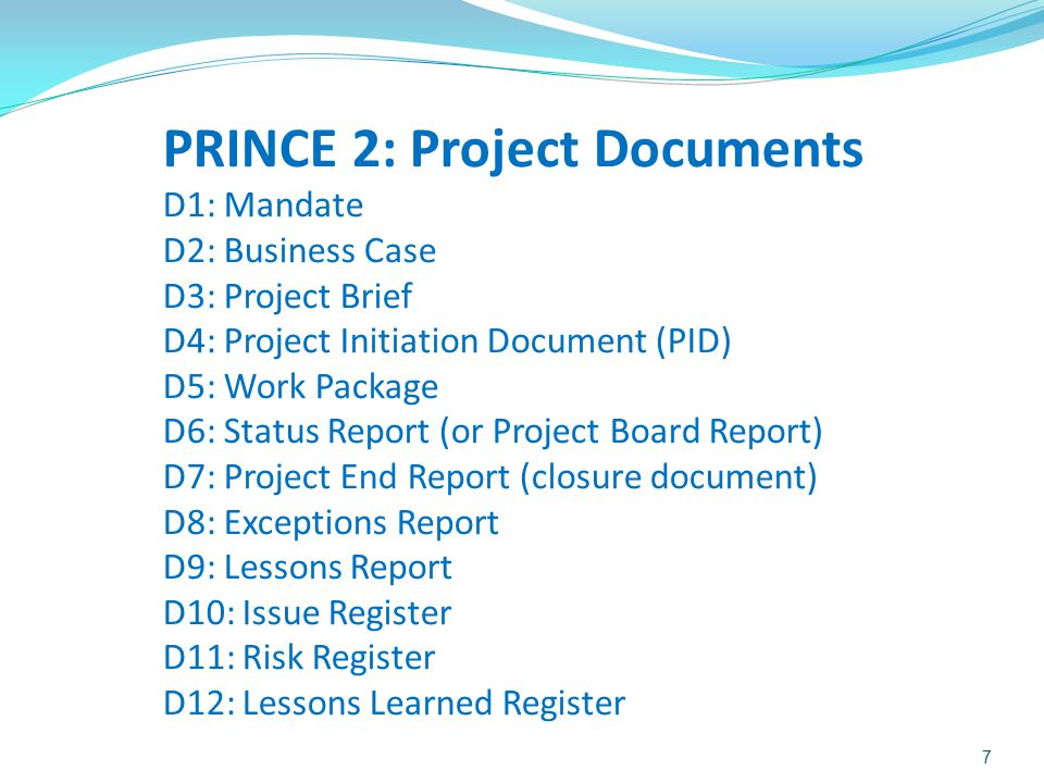 PRINCE 2: Project Documents