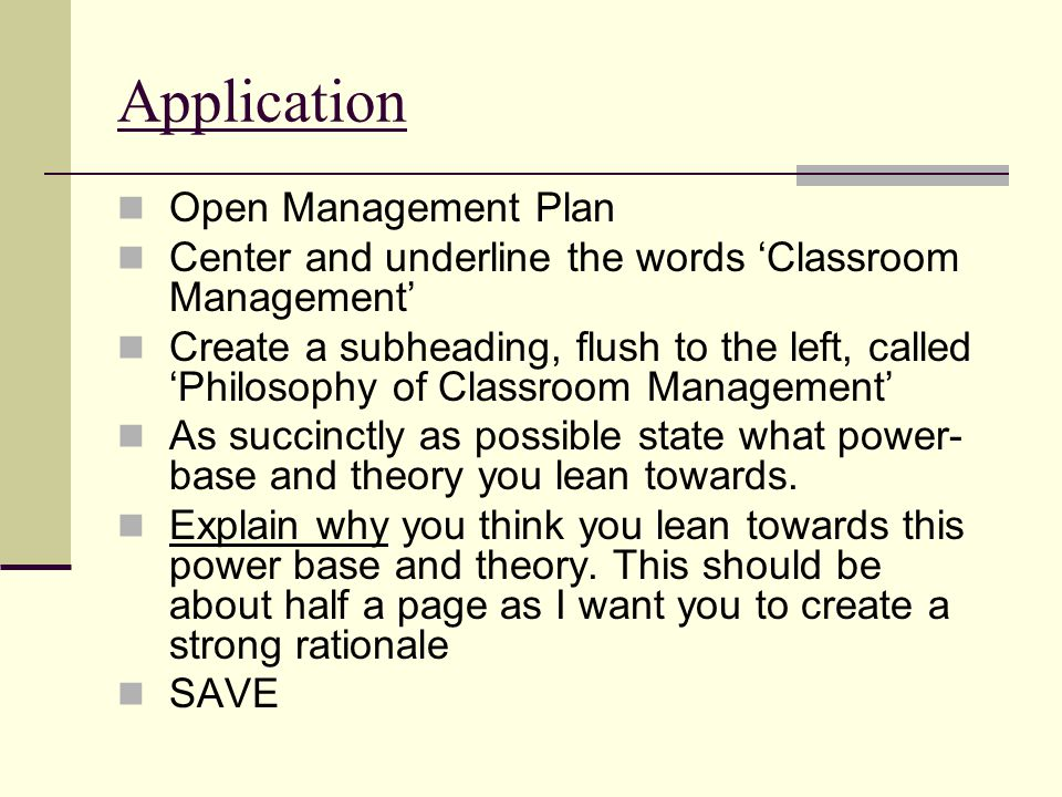 Application Open Management Plan