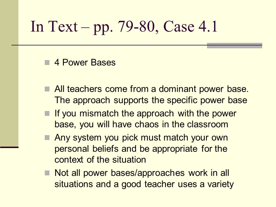 In Text – pp. 79-80, Case 4.1 4 Power Bases