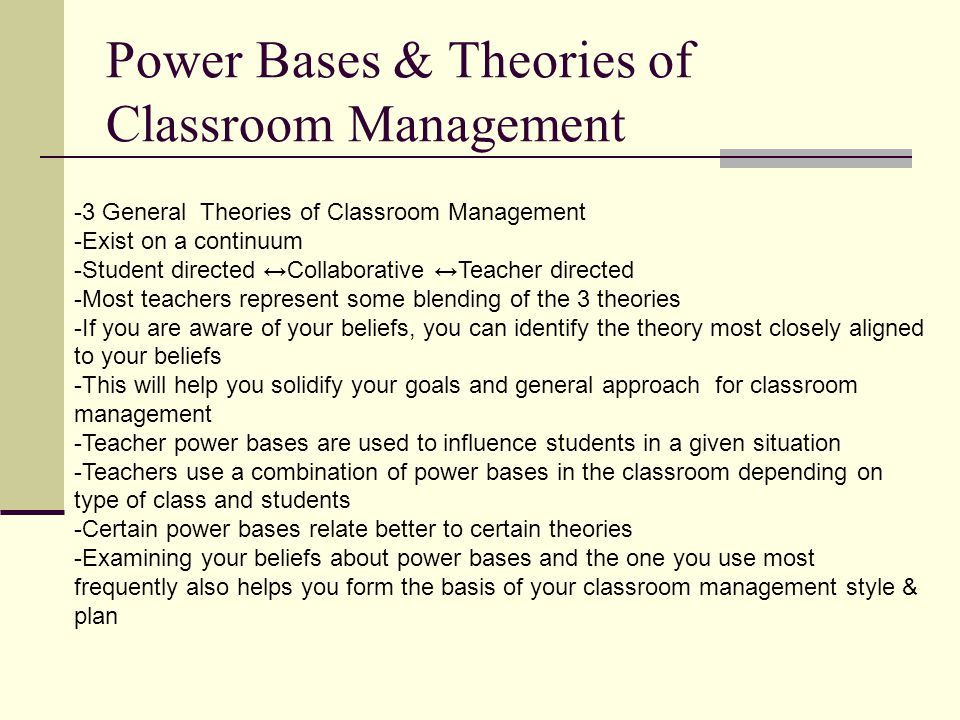 Power Bases & Theories of Classroom Management