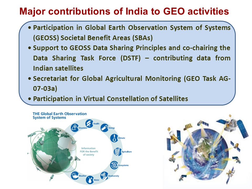 Major contributions of India to GEO activities