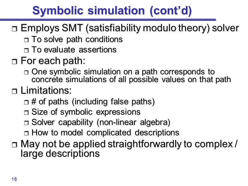 Symbolic simulation (cont'd)