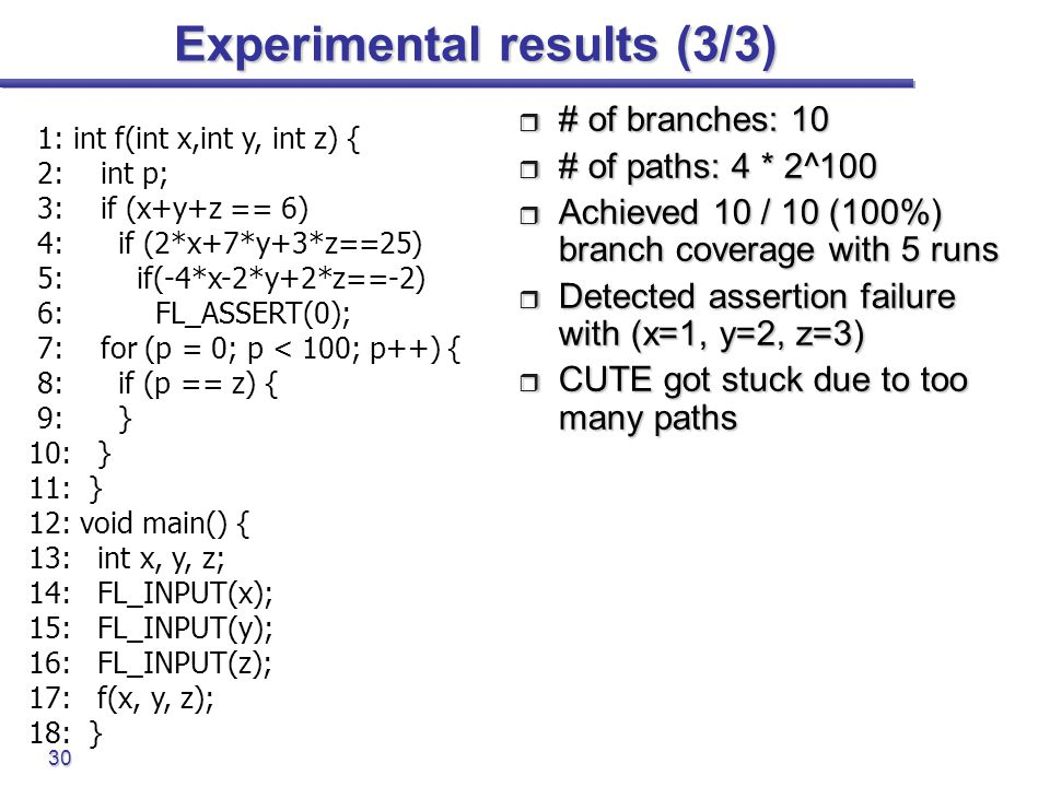 Experimental results (3/3)