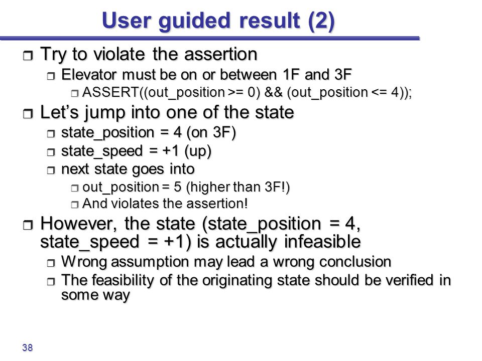 User guided result (2) Try to violate the assertion