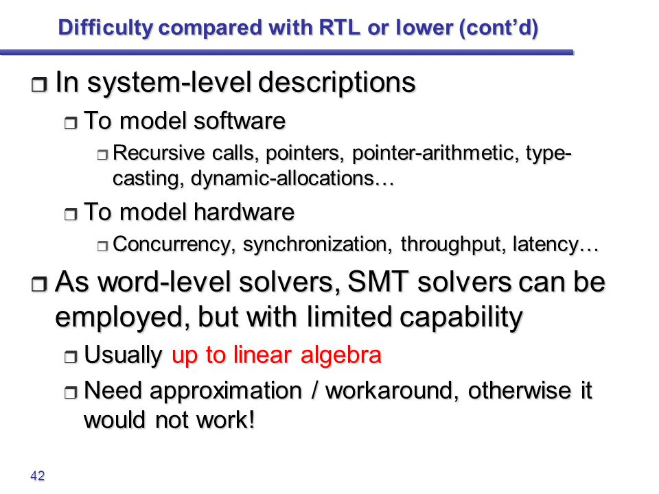Difficulty compared with RTL or lower (cont'd)