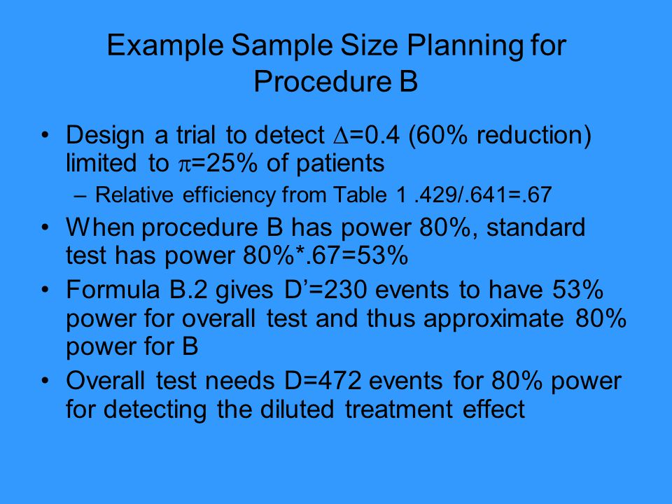 Example Sample Size Planning for Procedure B