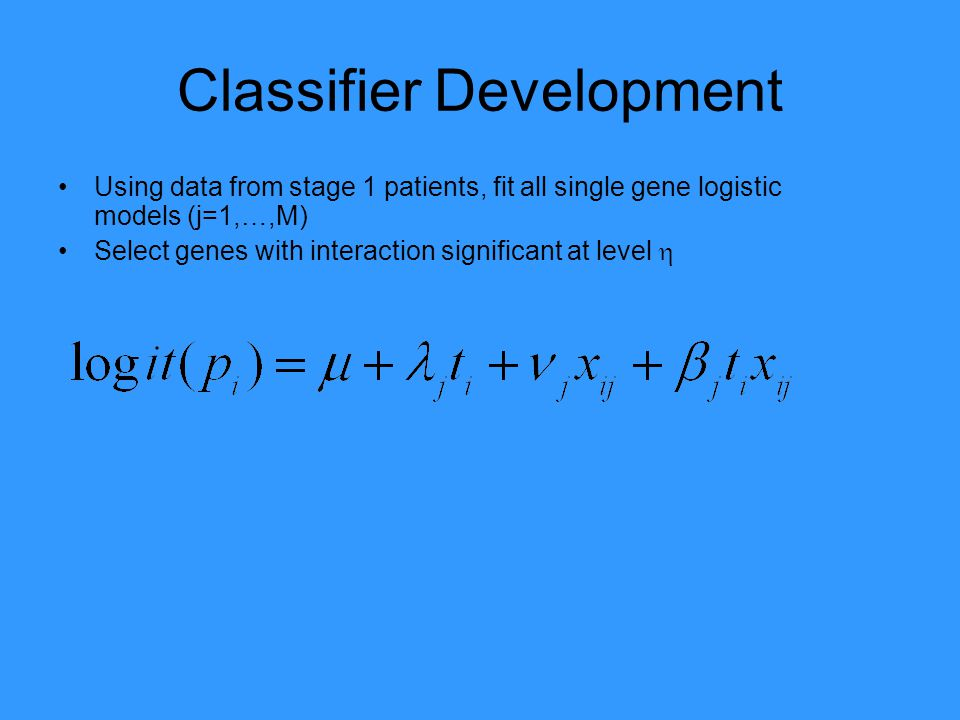 Classifier Development