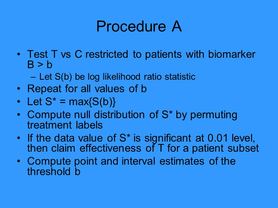 Procedure A Test T vs C restricted to patients with biomarker B > b