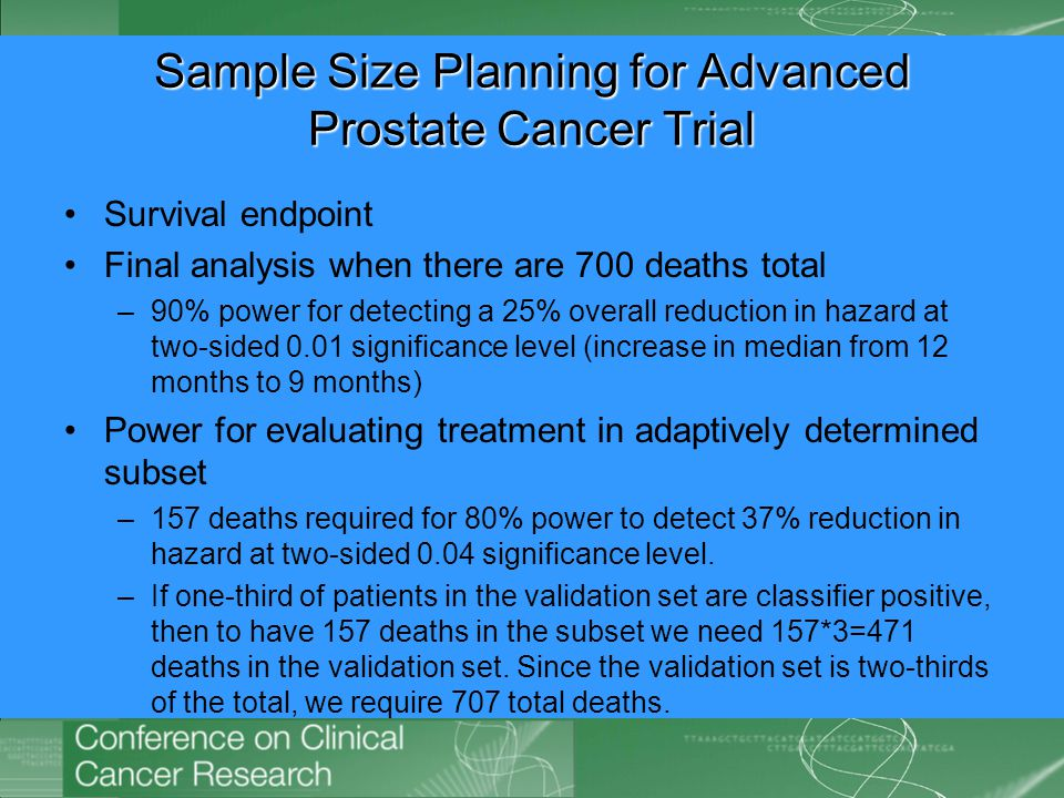 Sample Size Planning for Advanced Prostate Cancer Trial