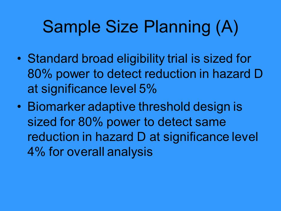 Sample Size Planning (A)
