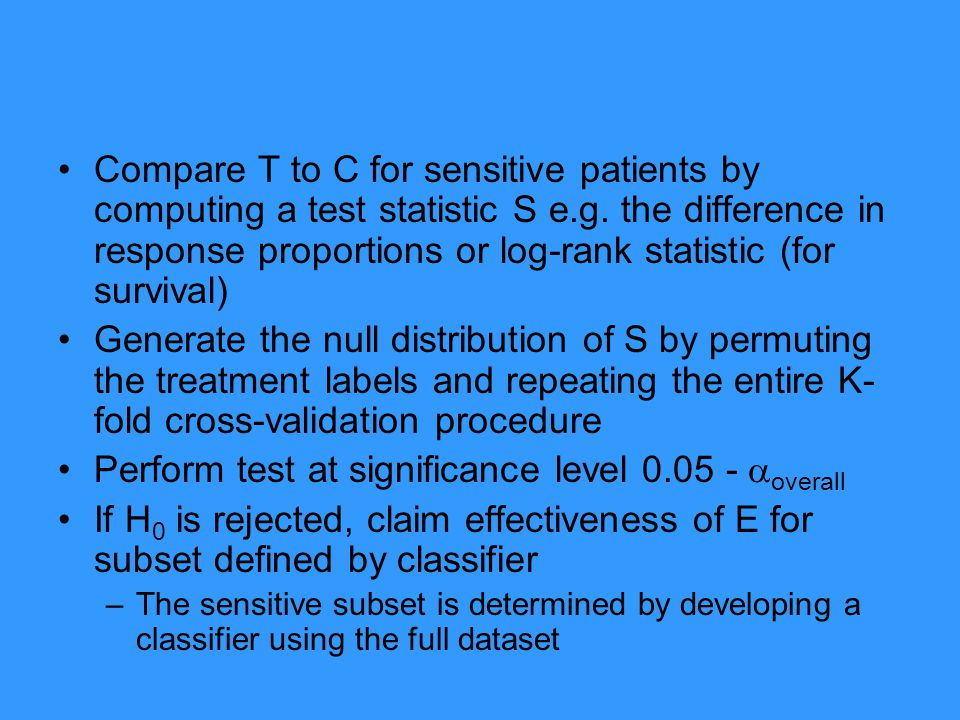 Perform test at significance level 0.05 - overall