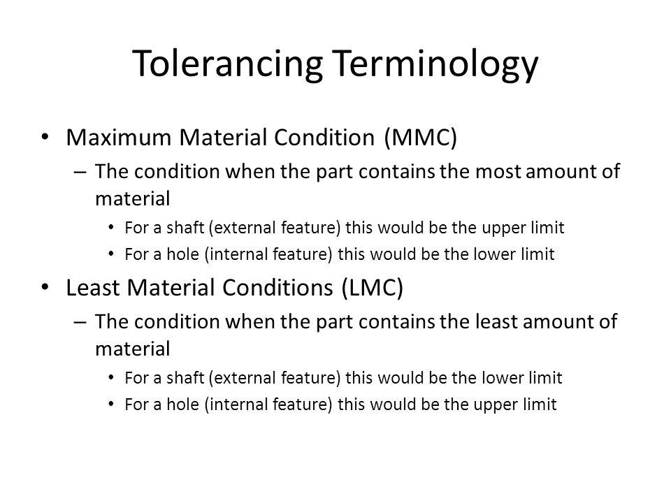 Tolerancing Terminology