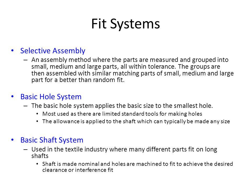 Fit Systems Selective Assembly Basic Hole System Basic Shaft System