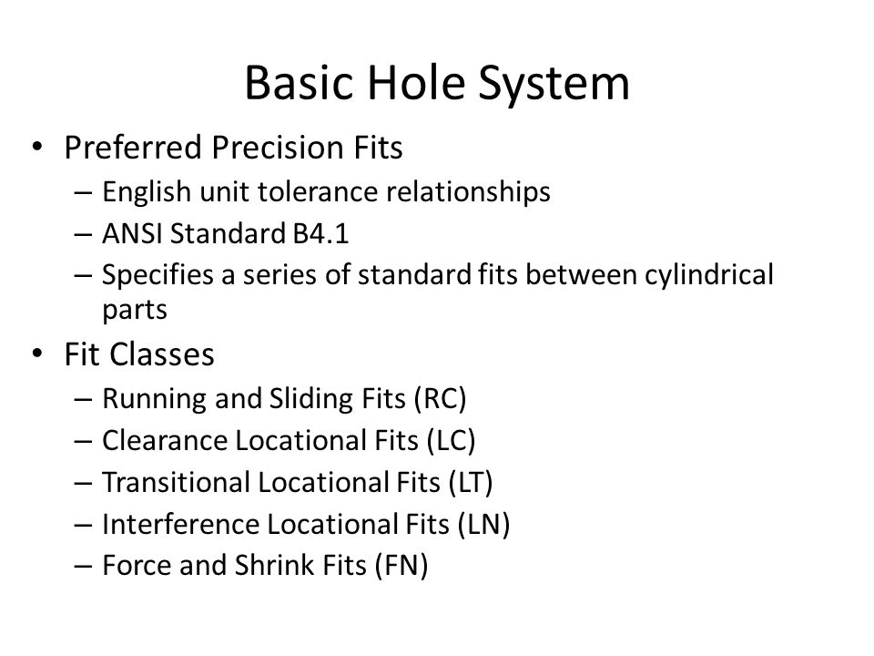 Basic Hole System Preferred Precision Fits Fit Classes