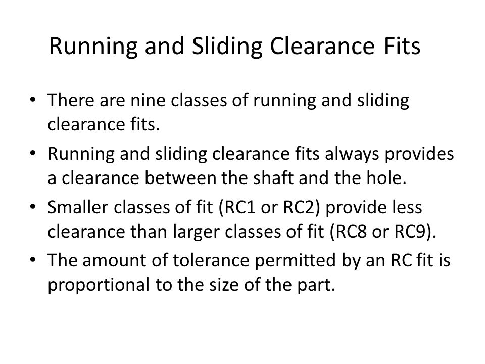 Running and Sliding Clearance Fits