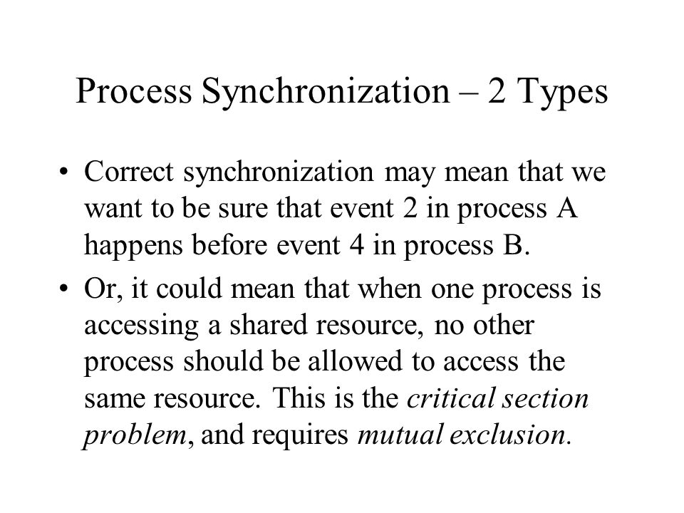 Process Synchronization – 2 Types