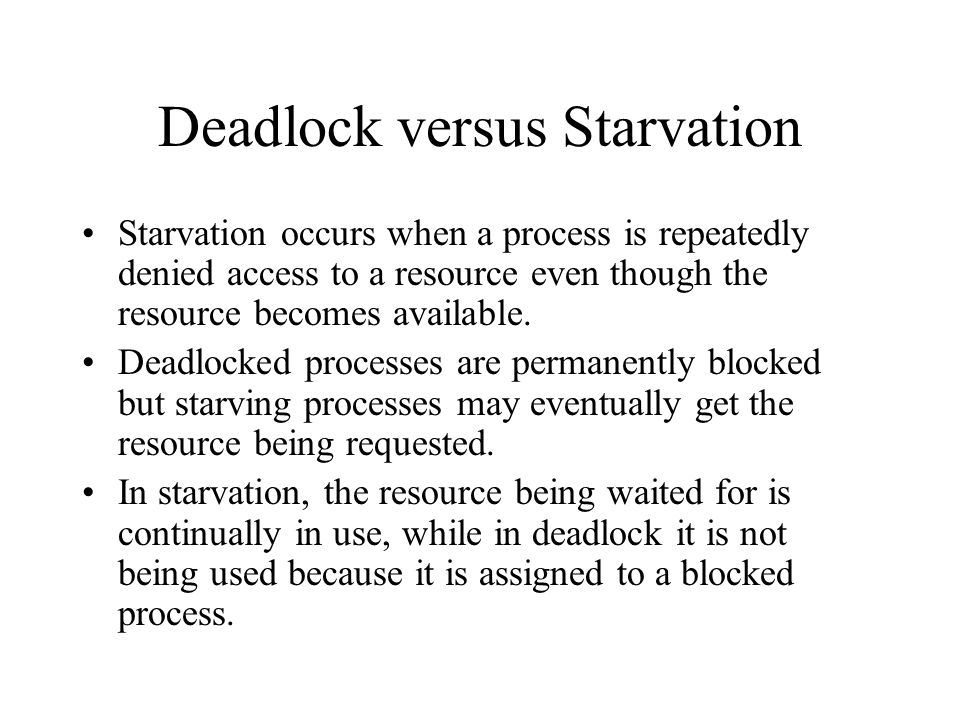 Deadlock versus Starvation