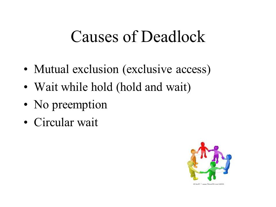 Causes of Deadlock Mutual exclusion (exclusive access)