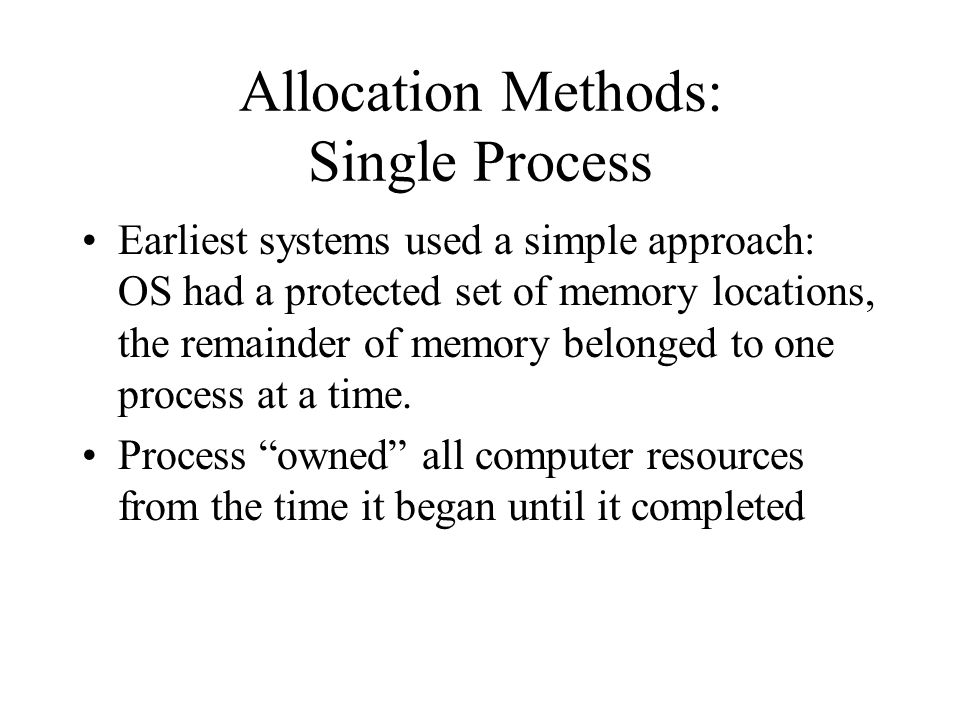 Allocation Methods: Single Process