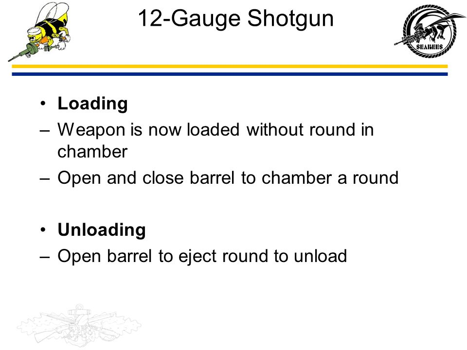 12-Gauge Shotgun Loading Weapon is now loaded without round in chamber