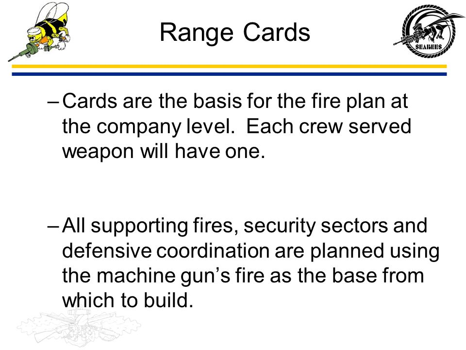 Range Cards Cards are the basis for the fire plan at the company level. Each crew served weapon will have one.