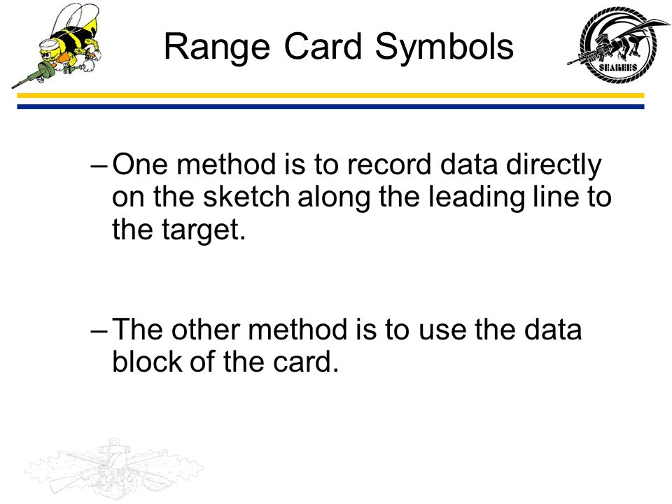 Range Card Symbols One method is to record data directly on the sketch along the leading line to the target.