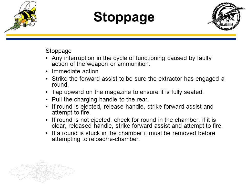 Stoppage Stoppage. Any interruption in the cycle of functioning caused by faulty action of the weapon or ammunition.