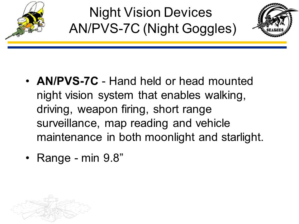 Night Vision Devices AN/PVS-7C (Night Goggles)