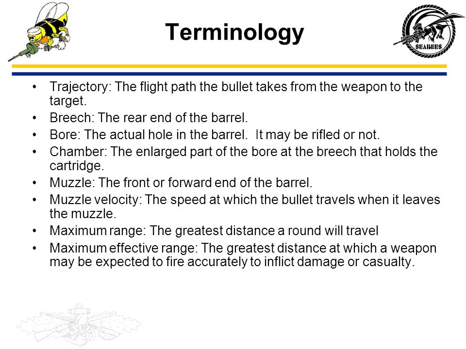 Terminology Trajectory: The flight path the bullet takes from the weapon to the target. Breech: The rear end of the barrel.