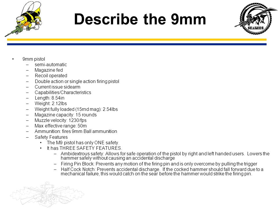 Describe the 9mm 9mm pistol semi-automatic Magazine fed