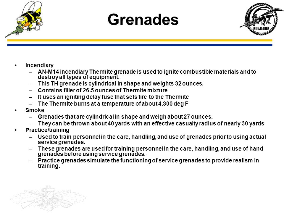 Grenades Incendiary. AN-M14 incendiary Thermite grenade is used to ignite combustible materials and to destroy all types of equipment.