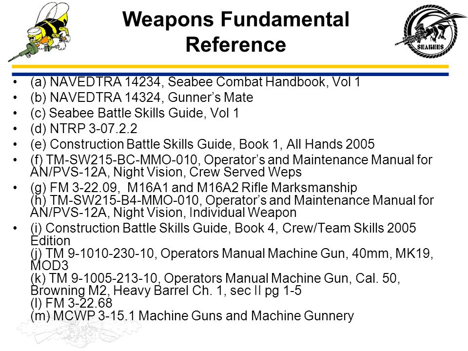 Weapons Fundamental Reference