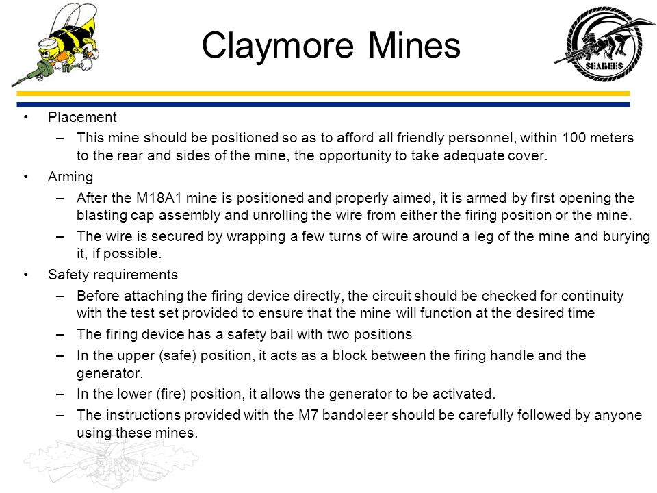 Claymore Mines Placement